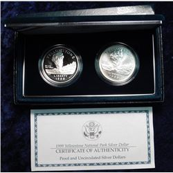 1999 S & P Proof & BU Yellowstone National Park Silver Dollars in original box as issued by the U.S.