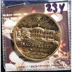 1949 Harry S. Truman gold-plated bronze Inauguration Medal. Minted at the U.S. Mint. 33 mm.