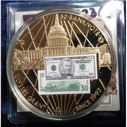2010 Banknote of the USA - Grant $50 Banknote. Material: Cu, layered in 24k Gold; Quality: Proof; Di