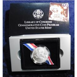 1800-2000 P Library of Congress Gem BU Silver Commemorative Dollar in original box as issued.