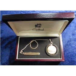 """""""Colibri Quartz"""" Pocket Watch with Knife.  Needs a battery. In a hardwood box."""