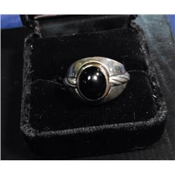 """The Winner's Circle Ring"", minted by the Franklin Mint in Sterling Silver with a polished black ony"