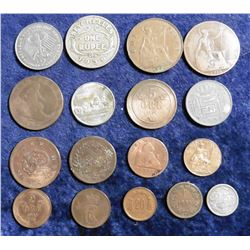 (1) Statehood Quarter & (16) Foreign Coins. Includes 1939 Seychelles Rupee, 1983 German Two Mark, 18