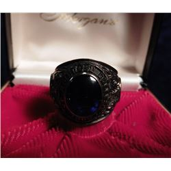 1969 Ambrose College Class Ring in a Morgan's jewelry box. Stamped inside 10K. Black onyx center sto
