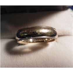 Size 11 Men's Gold Wedding Band in a Bookin Jewelry Co. Marked and is 14K Gold. 5.18 dwt of 14K Gold
