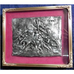 "7 1/8"" x 6 1/8"" Gold colored frame High Relief sculptured plaque of a Medieval Knights in battle sce"