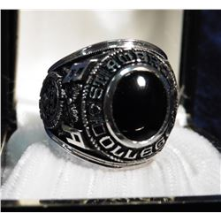 1969 Ambrose College Class Ring in a jewelry box. Stamped inside John Roberts 10K. Black onyx center