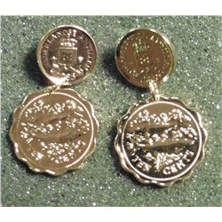 Pair of Gold-plated Coin Earrings made from Bahamas and Netherlands Antilles coins. No backs. In ori