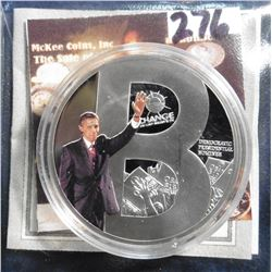 "2009 Life of Barack Obama ""B"" Coin. Material: Cu, silver-plated with color portrait; Quality: Proof;"