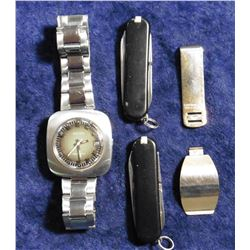 "Couple gold-plated or filled jewelry parts, ""Bates"" Wrist Watch (needs a battery); & (2) small Black"