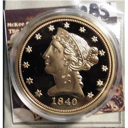 1840 D U.S. Liberty Head Five Dollar Gold Replica. Material: Cu, layered in 24k Gold; Quality: Proof