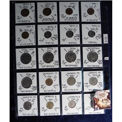 (20) Foreign Coins from Argentina, Aruba and Australia all in 2X2's and plastic page. Catalog Value