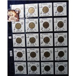 (20) Foreign Coins from France All Different 20-Centimes 1963-1991 all in 2X2's and plastic page. Ca