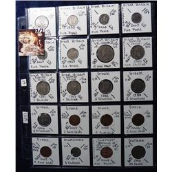 (20) Foreign Coins from Great Britain, Greece, Guatemala, Guernsey and Guyana all in 2X2's and plast