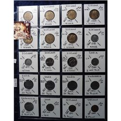 (20) Foreign Coins from Iceland, India, Indonesia, Iran and Ireland all in 2X2's and plastic page. C