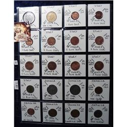 (20) Foreign Coins from Italy and Jamaica all in 2X2's and plastic page. Catalog Value $7.85.