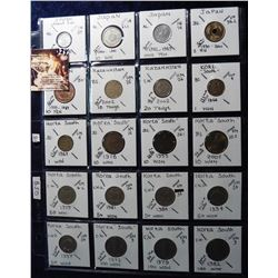 (20) Foreign Coins from Japan, Kazakhstan and South Korea all in 2X2's and plastic page. Catalog Val