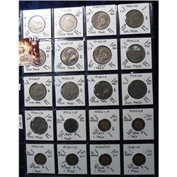(20) Foreign Coins from Mexico 1-Peso 1970-2005 all in 2X2's and plastic page. Catalog Value $10.85.