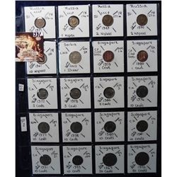 (20) Foreign Coins from Russia, Serbia and Singapore all in 2X2's and plastic page. Catalog Value $9