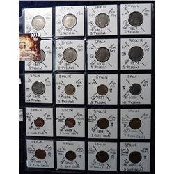 (20) Foreign Coins from Spain 5 & 10 Peseta and Euro all in 2X2's and plastic page. Catalog Value $5