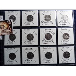 2000 P thru 2010 Canada Nickels. All Gem BU. Charlton book value $20.25.