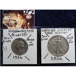 1936 P Washington Quarter AU & 1936 P Walking Liberty Half Dollar EF. Red Book value $24.00.