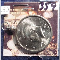 1998 D Kennedy Half Dollar in a bezel for a necklace. BU.