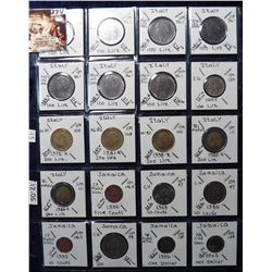 (20) Different Foreign Coins from Italy and Jamaica, all in 2X2's and plastic page. Catalog Value $1