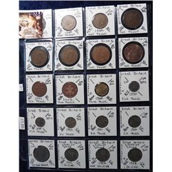 (20) Different Foreign Coins from Great Britain, all in 2X2's and plastic page. Catalog Value $17.50