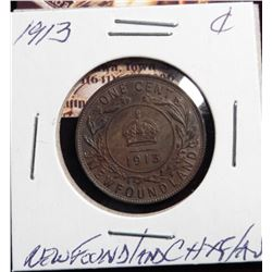 1913 Large Cent Newfoundland CH.XF/AU Semi-Key Date