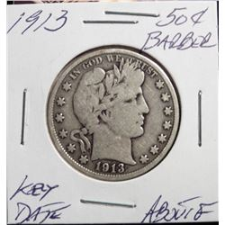 1913 Barber Half Dollar. About Fine Key Date Problem-Free