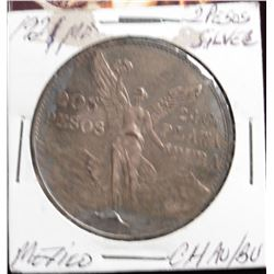 "1921Mo Silver 2 Pesos ""Angel"" Mexico 1Yr. Type Scarce Toned UNC"