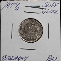 1877A 50Pf Silver Germany BU Catalog @ $125