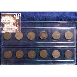 1898-1909 Inclusive Indian Head Cents in a sleeve. No Mint Marks. All Good to Very Good. (12 pcs.).