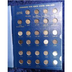 1858-1920 Complete Set of Canada Five Cent Silvers with major varieties in a Whitman folder. Include