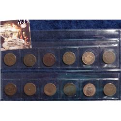 1885, 1887-1893, 1896-97, 1899-1900 U.S. Indian Head Cents in a plastic sleeve. AG to Full Good.  (1