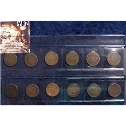 1887-1893, 1895-1898, & 1900 U.S. Indian Head Cents in a plastic sleeve. AG to Full Good. (12 pcs.).