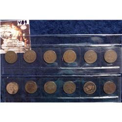 1898-1909 Mixed date some duplicates U.S. Indian Head Cents in a plastic sleeve. G to Very Good. (12