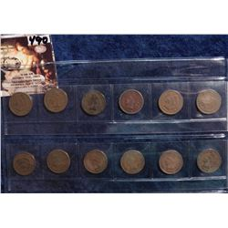 1898-1909 All different date U.S. Indian Head Cents in a plastic sleeve. G to Very Good. (12 pcs.).