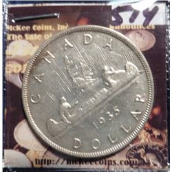 1935 Canada Silver Dollar. KM30. Almost Uncirculated. KM value $40.00