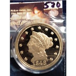 1848 P U.S. Quarter Eagle Liberty Head Gold Replica. Material: Cu, layered in 24k Gold; Quality: Pro
