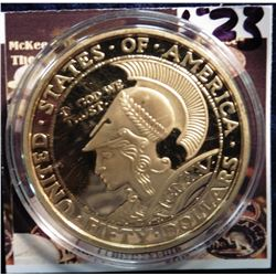 1915 Panama-Pacific $50 Round Gold Replica. Material: Cu, layered in 24k Gold; Quality: Proof; Diame