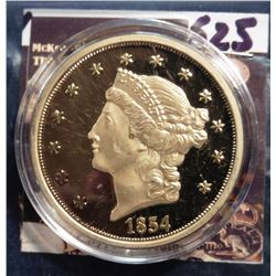 1854 S U.S. Double Eagle Liberty Head Gold Replica. Material: Cu, layered in 24k Gold; Quality: Proo