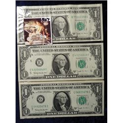 "(5) Series 1963 B $1 Federal Reserve Notes ""Joseph W. Barr"" signed. All Crisp Unc."