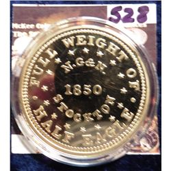 1850 California Gold Half Eagle Replica. Material: Cu, layered in 24k Gold; Quality: Proof; Diameter