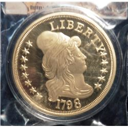 1798 U.S. Half Eagle Turban-Head Gold Replica. Material: Cu, layered in 24k Gold; Quality: Proof; Di