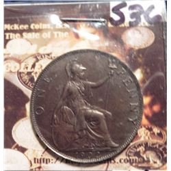 1902 Great Britain Large Penny. KM794.2. Brown AU-55. KM is $20 in EF and $60 in Unc.