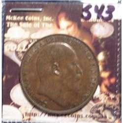 1905 Great Britain Large Penny. KM794.2. Brown AU-55. KM is $50 in EF and $125 in Unc.