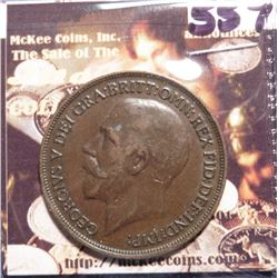 1918 Great Britain Large Penny. KM810. EF 40. Quite Scarce. KM Value $25.00.