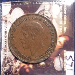 1932 Great Britain Large Penny. KM838. Brown AU 50. Quite Scarce. KM Value $40.00.
